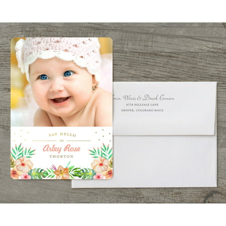 Tropical Announcement Deluxe Baby Announcement (Purple Baby)