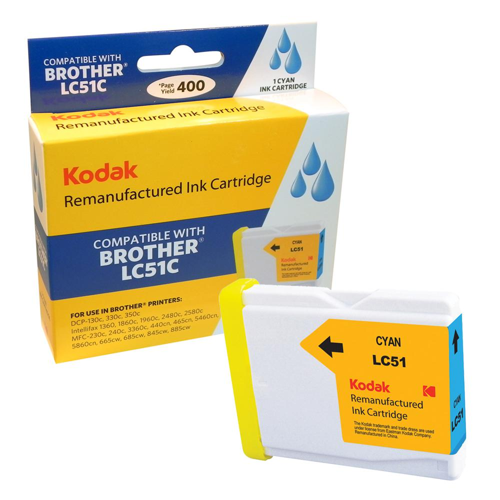 KODAK Remanufactured Ink Cartridge With Brother LC51C High-Yield Cyan