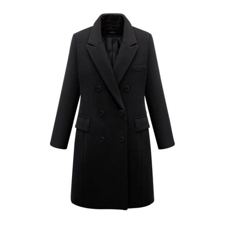 Winter Womens Plus Size Wool Lapel Long Coat Trench Parka Jacket Overcoat Outwear