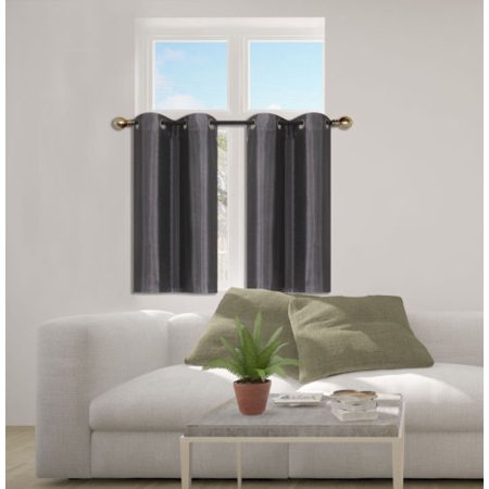 D24 Charcoal 2-Piece Energy Saving Room Darkening Grommet Top Window Curtain Set, 2 Blackout Panels For Short