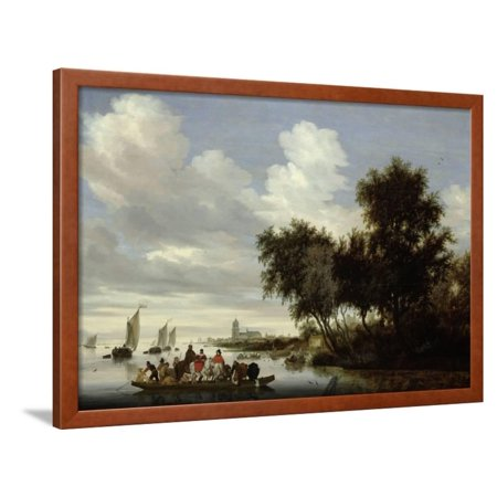 River Landscape with Ferry Framed Print Wall Art By Salomon van Ruysdael