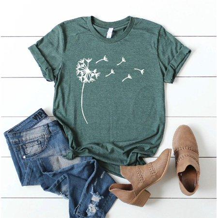 New Fashion Women Bohemia Dandelion Print Tee Shirt Lady Girl Short Sleeve T-shirt Boho Graphic Tee Casual Yoga Top Plus Size Girls Ladies Shirt