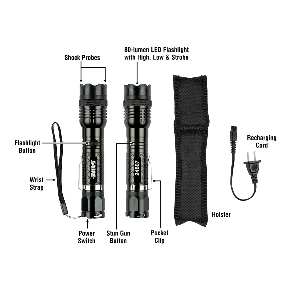 SABRE Stun Gun with LED Flashlight - Extremely Strong Pain-Inducing Stun  Gun for Self-Defense with Wrist Strap, Belt Clip, & Holster – Deliver an