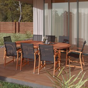 Amazonia Damon 11 Piece Rectangular Extandable Patio Dining Set Eucalyptus Wood Ideal For Outdoors And Indoors Walmart Com Walmart Com