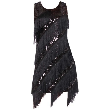 Adult Womens Midnight Dazzle Roaring 20's Flapper Girl Dress Costume
