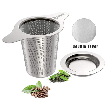 IPOW Upgraded 18/8 Stainless Steel Tea and Coffee Infuser Fine Mesh Filters Tea Strainer Steeper Double Handles for Hanging on Teapots, Mugs, Cups to steep Loose Leaf Tea and
