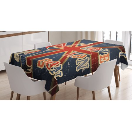 British Tablecloth, I Love London Quote with English Man on UK Flag Backdrop National Design, Rectangular Table Cover for Dining Room Kitchen, 52 X 70 Inches, Gold Dark Blue Red, by Ambesonne ()