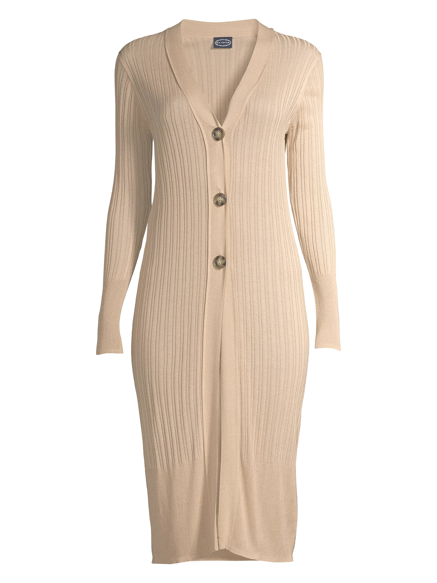 Scoop Women's Long Cardigan Button Front Knit Sweater