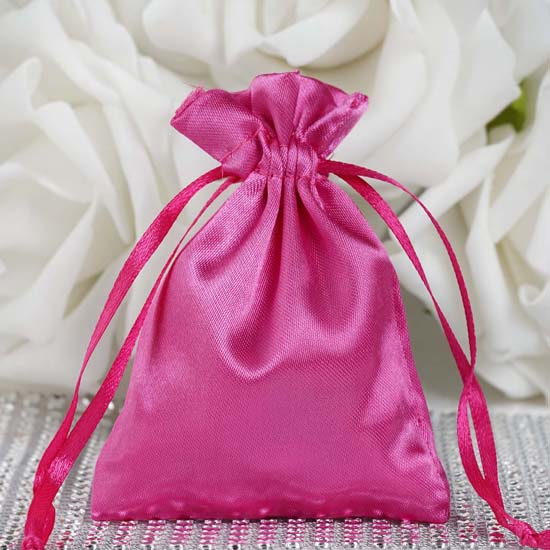 "Efavormart 60PCS  Satin Gift Bag Drawstring Pouch for Wedding Party Favor Jewelry Candy Solid Satin Bags - 3""x4"""