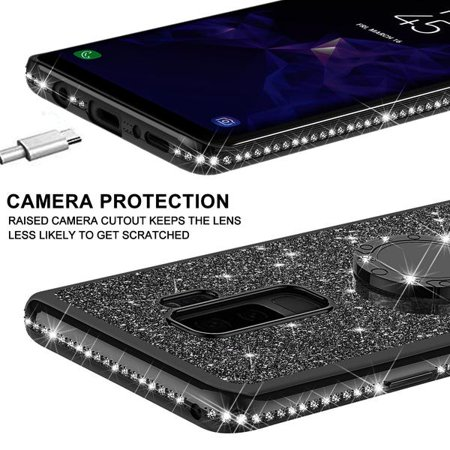 Galaxy S9 Case, Cute Glitter Ring Stand Phone Case with Kickstand, Bling Diamond Rhinestone Bumper Ring Stand Sparkly Luxury Clear Thin Soft Protective Samsung Galaxy S9 Case for Girls Women - Black - image 5 of 6