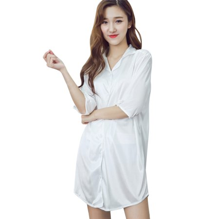 Woman Clothing Loose Sexy Stylish Half Sleeves Button Cardigan T-shirt Nightgown