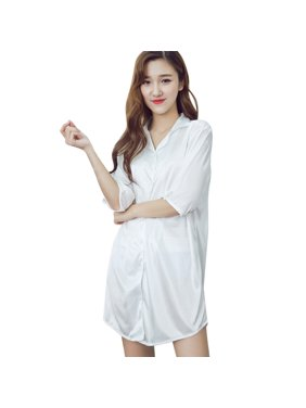 93bcbbe67 Product Image Woman Clothing Loose Sexy Stylish Half Sleeves Button  Cardigan T-shirt Nightgown