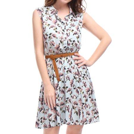 Women's Button Closure Upper Elestic Waist Sleeveless Printed Shirt Dress with Belt Blouse Tops Light Blue XL (US -