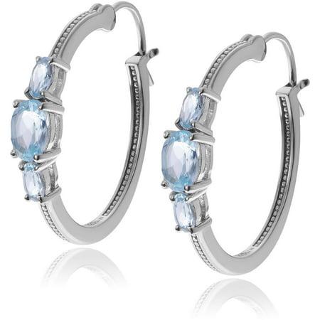Brinley Co. Women's Topaz Rhodium-Plated Sterling Silver Hoop Earrings