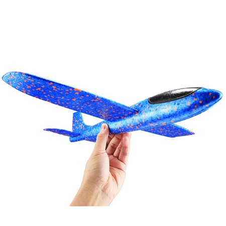 Navy Model Airplane - New Style Children Airplane Model Toy Hand Launch Throwing Airplane Colorful Foam Toy Plane, Size: 35*8.0*3.0cm(Blue)