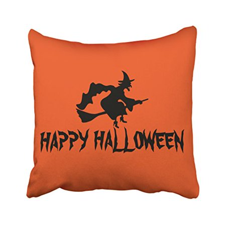 WinHome Simple Vintage Happy Halloween Witch With Her Broom Silhouette Orange Polyester 18 x 18 Inch Square Throw Pillow Covers With Hidden Zipper Home Sofa Cushion Decorative Pillowcases - Simple Halloween Martini