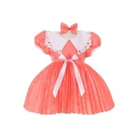 Baby Girls Coral Trimmed Coral Bow Accent Pleated Christmas Easter Dress 6-24M