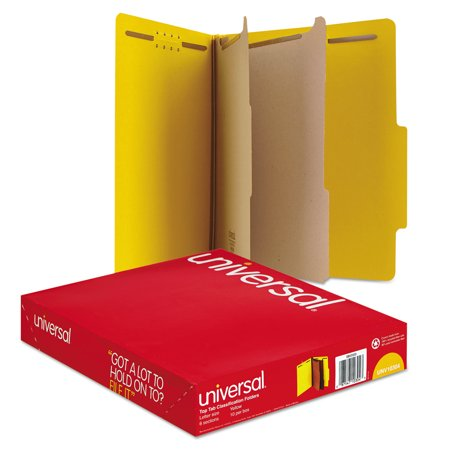 Universal Pressboard Classification Folders, Letter, Six-Section, Yellow, 10/Box -UNV10304 ()