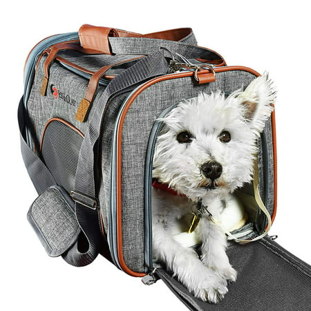 Ess And Craft Pet Carrier Airline Approved | Side Loaded Travel Bag With Sturdy Bottom & Fleece Cushion | Ventilated Pouch With Faux Leather Top Handle & Zipper Locks | For Dogs, Cats, & Small Pets Faux Leather Pet Carrier