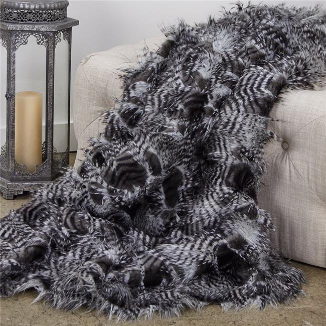 Plutus PBEZ1785-96x110T Porcupine Faux Fur Luxury Throw Blanket, Grey & Silver - Queen - image 3 of 3