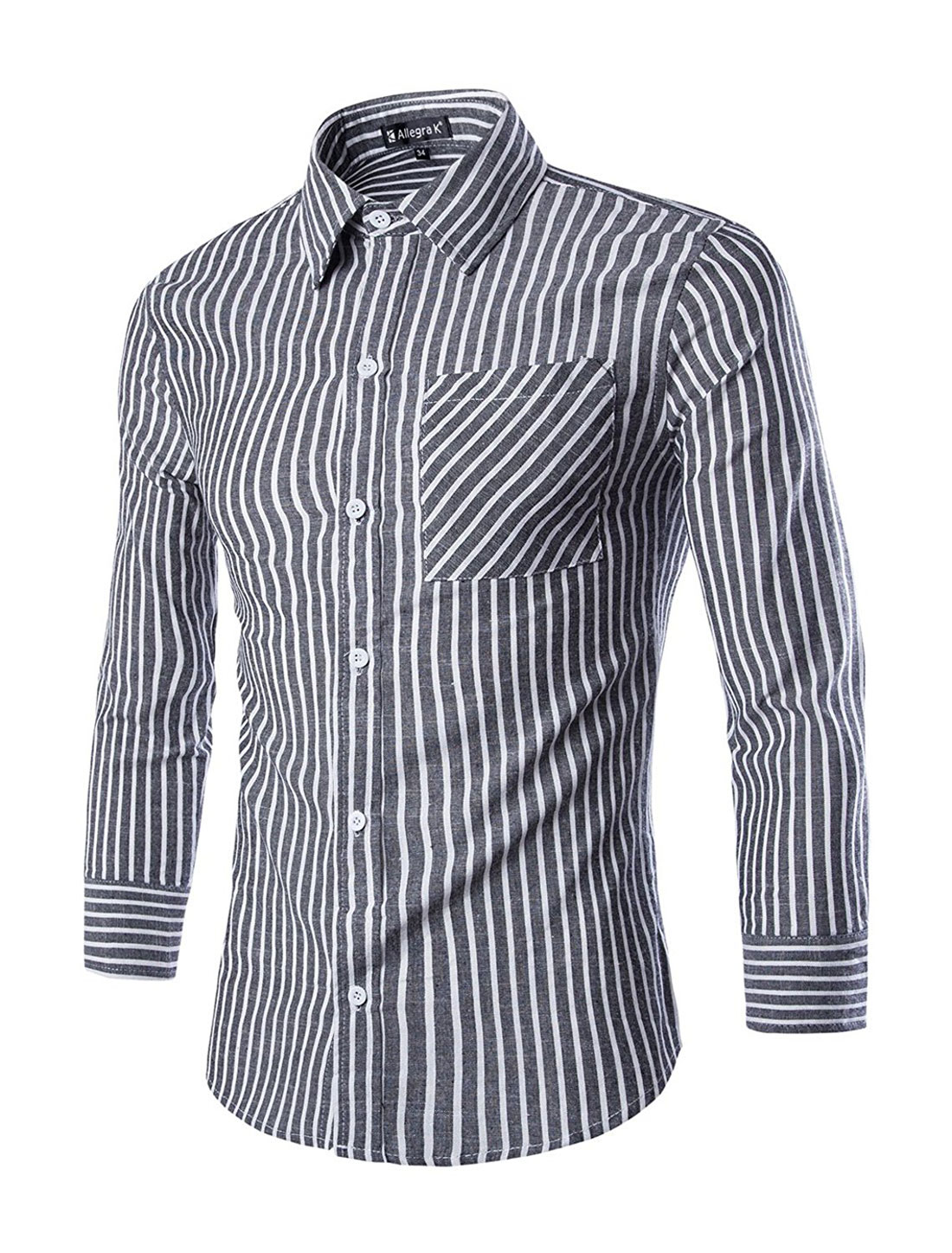 Unique Bargains Men's Basic Collar Striped Button Down Shirts Gray White (Size M / 38)