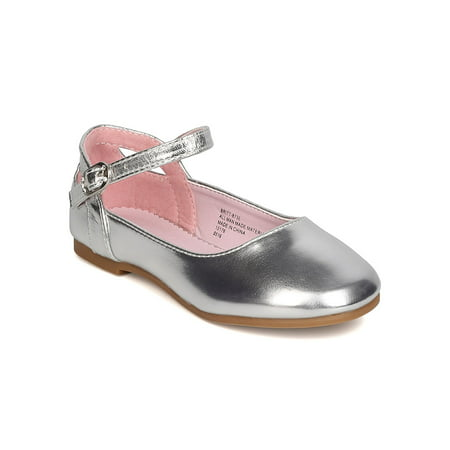 New Girl Little Angel Britt-873E Metallic PU Ankle Strap Cut Out Ballet Flat
