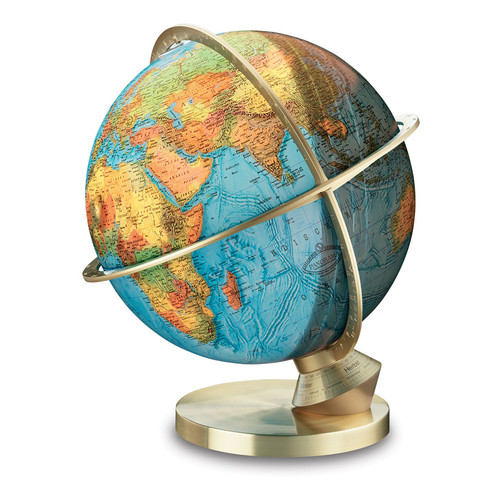 Columbus Globe Marco Polo Illuminated Desktop Globe with Stainless Steel Base