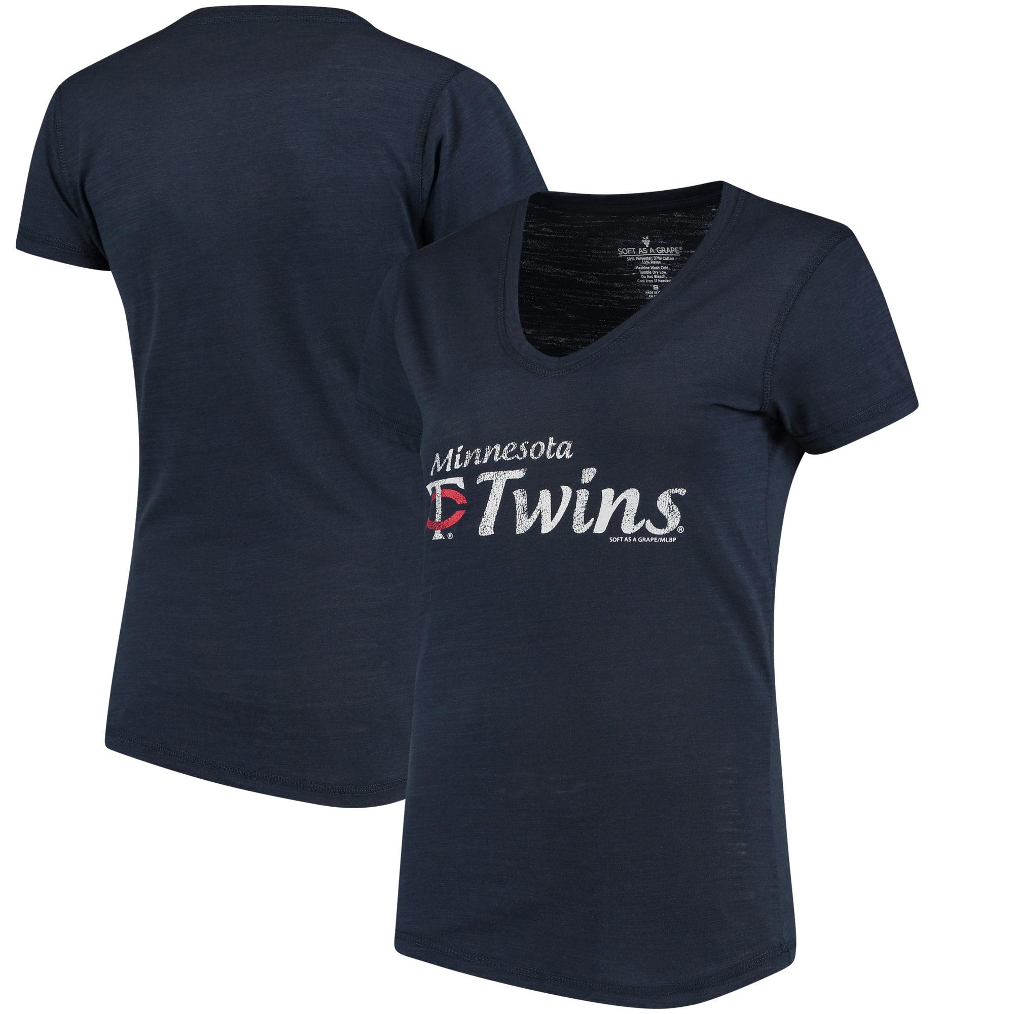 Minnesota Twins Soft As A Grape Women's Double Steal Tri-Blend V-Neck T-Shirt - Navy