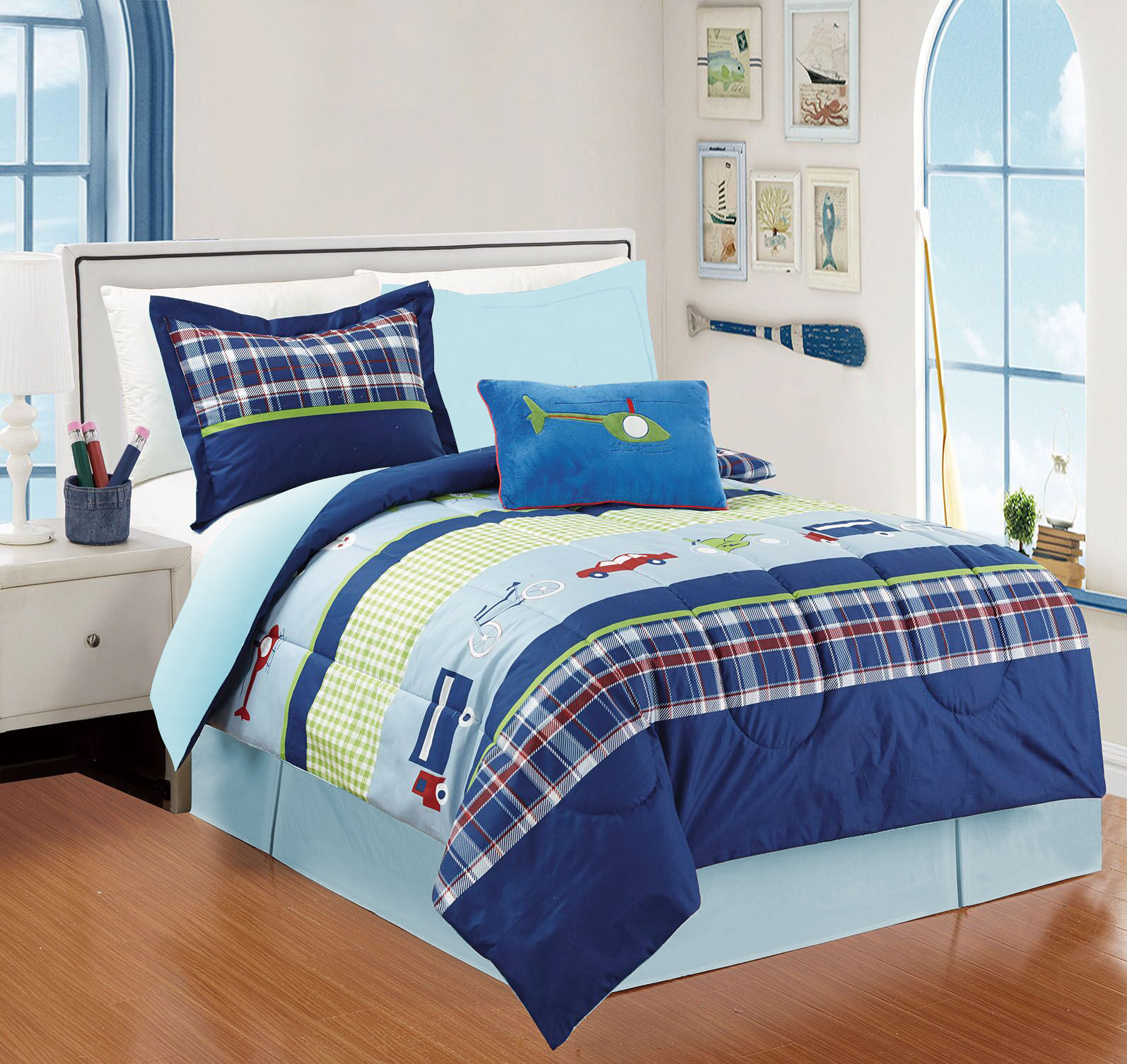 All American Collection 4 Piece Twin Size Auto's Comforter Set with Bed-skirt