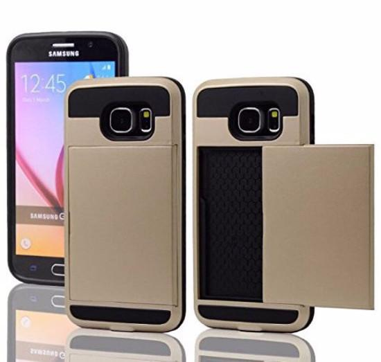 Samsung Galaxy S6 Case, Slim Hybrid Armor w/ Card Slot Case Cover for Galaxy S6 - Gold