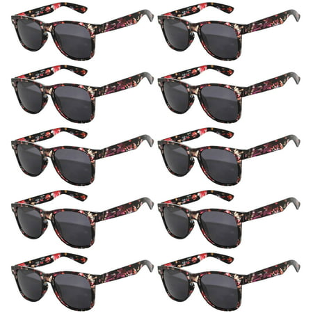 Retro Floral 80's Vintage Party Sunglasses Black Red Frame Smoke Lens OWL (10 (Floral Sunglasses)
