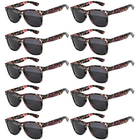 Floral Sunglasses (Retro Floral 80's Vintage Party Sunglasses Black Frame Smoke Lens OWL (10)