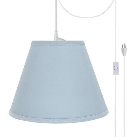 Aspen Creative 72196-21 One-Light Plug-In Swag Pendant Light Conversion Kit with Transitional Hardback Empire Fabric Lamp Shade, Light Blue, 12