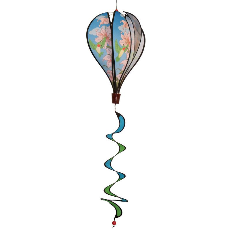 In the Breeze Hummingbird Lilies Hot Air Balloon Wind Spinner by Gold Crest Distributing LLC