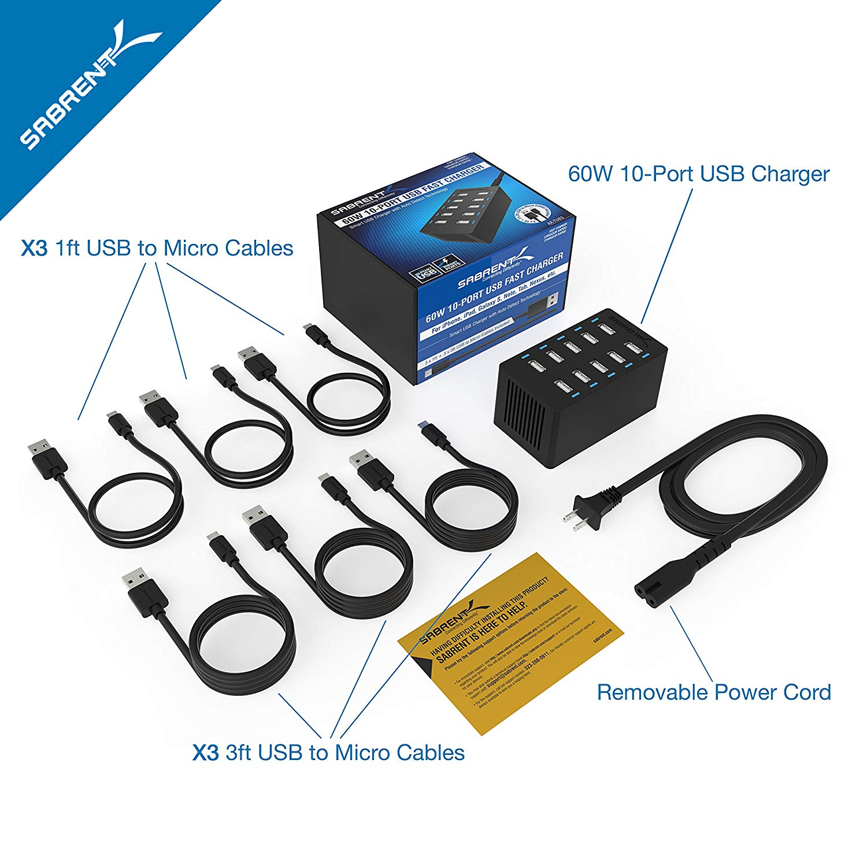 10-Port Family-Sized Desktop USB Rapid Charger Sabrent 60 Watt 12 Amp Black 6 Micro USB Cables X3-3foot. and X3-1foot AX-TU63