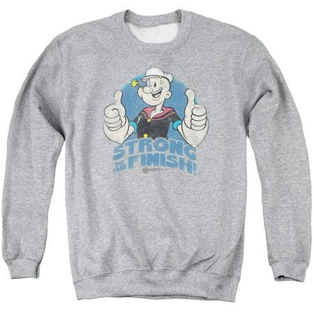 Popeye The Sailor Man Cartoon Strong To The Finish Thumbs Up Crewneck Sweatshirt (Popeye Sailor Man Costume)