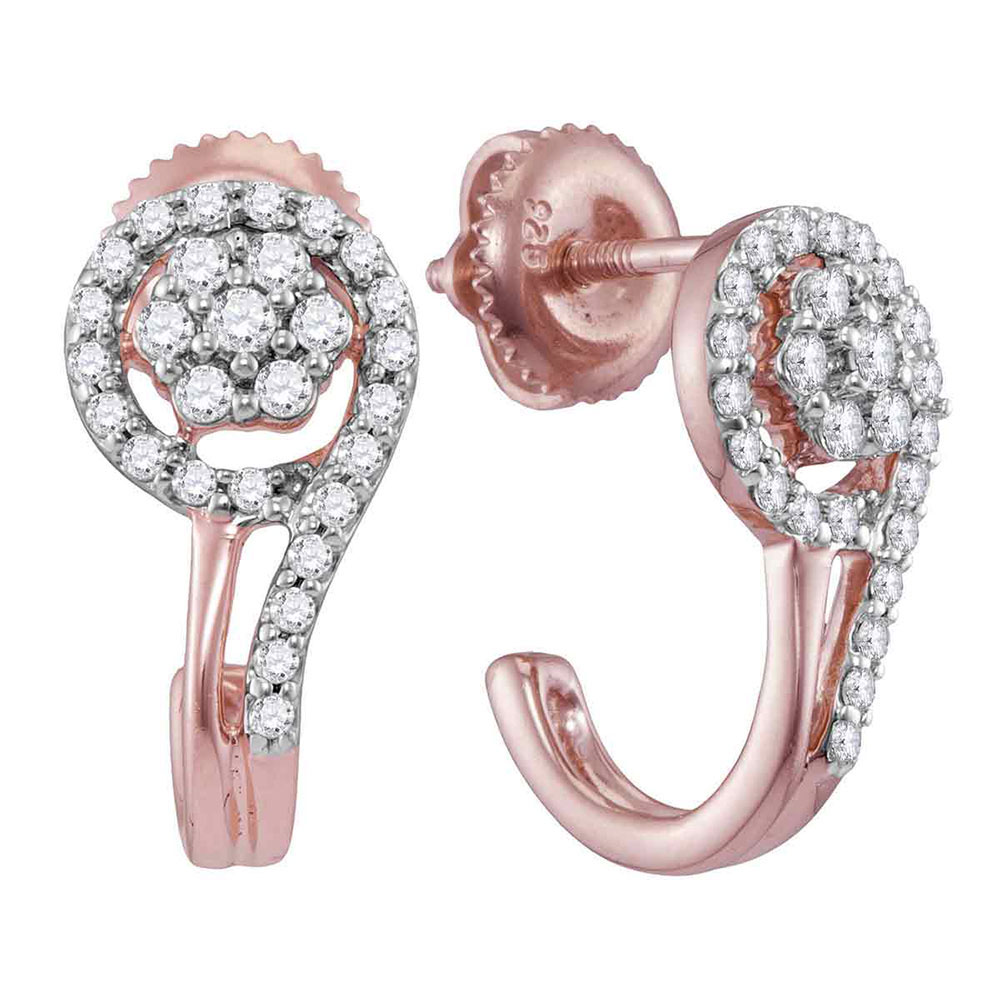 10kt Rose Gold Womens Round Diamond J Hoop Earrings 1/3 Cttw