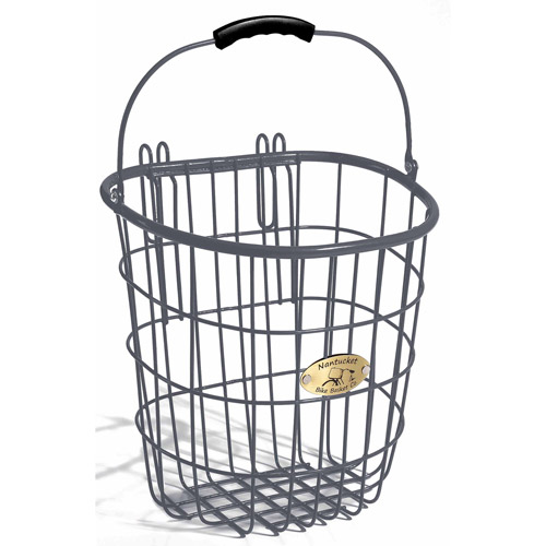 Surfside Rear Pannier Basket with Hooks, Charcoal Grey