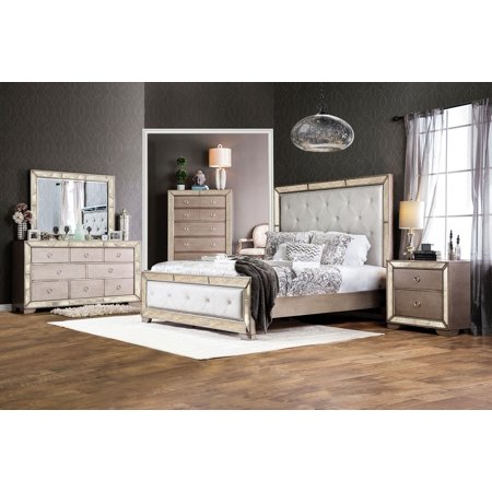 Antiqued Champagne Finish - Luxury Antique Mirror Panel HB FB Bed Glam Style Queen Size Bed 4pc Set Dresser Mirror Nightstand Champagne Finish