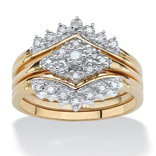 .22 TCW Diamond 18k Gold over Sterling Silver 3-Piece Bridal Engagement Wedding Ring Set - Size 7