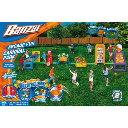 Banzai Arcade Fun Carnival Park  Inflatable Backyard Sports Play With Constant Air Motor Blower Included