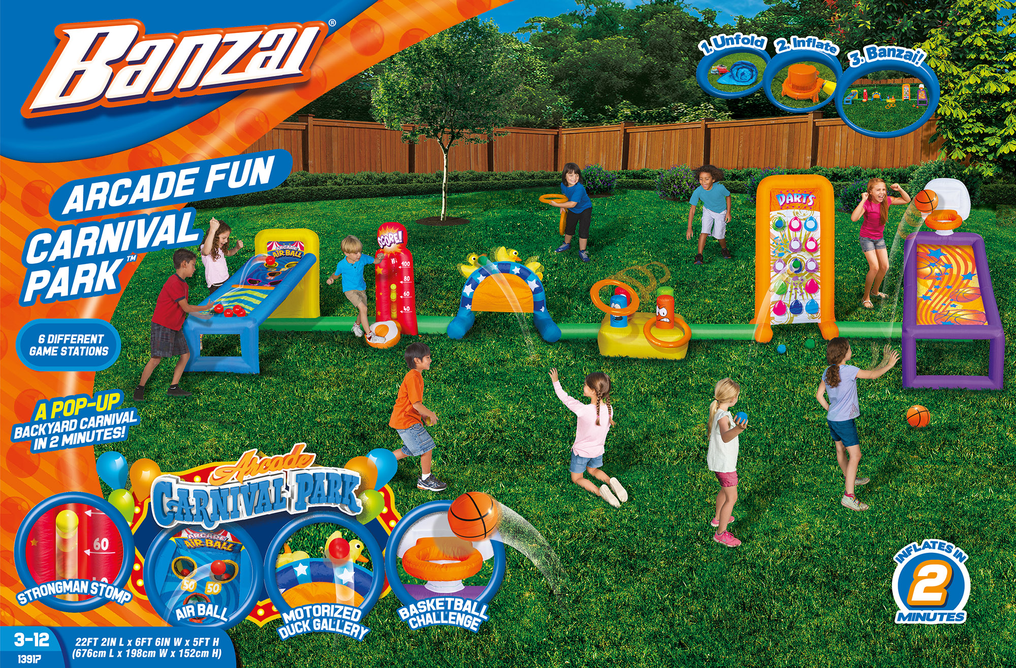 Banzai Arcade Fun Carnival Park (Inflatable Backyard Sports Play With  Constant Air Motor Blower Included