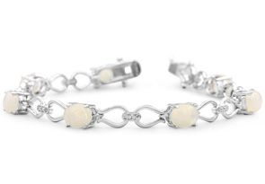 5 1 2 Carat Opal and Diamond Bracelet In Platinum Overlay 7 Inches by