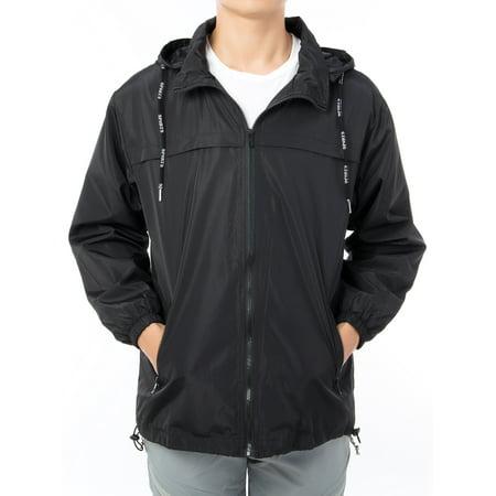 LELINTA Mens Full Zip Hooded Waterproof Windbreaker Rain Jacket Comfortable Men Leisure Outwear up to Size 8XL, Black/ Grey Full Zip Windbreaker
