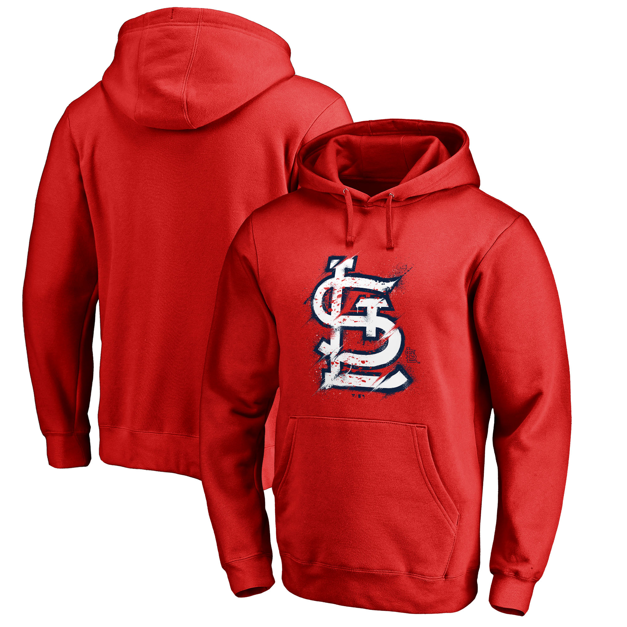 St. Louis Cardinals Fanatics Branded Splatter Logo Pullover Hoodie - Red