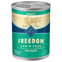 (12 Pack) Blue Buffalo Freedom Grain Free Natural Adult Wet Dog Food, Lamb, 12.5-oz cans