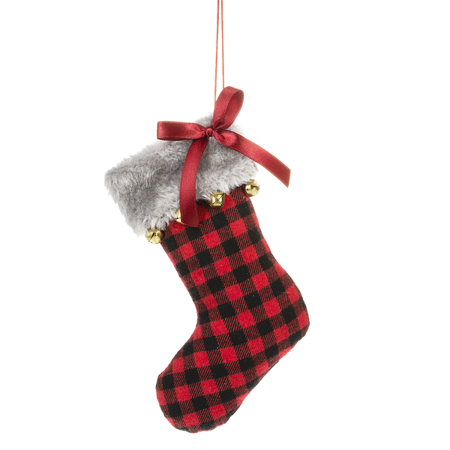 BUFFALO PLAID Red Fabric Stocking Christmas Ornament, 6