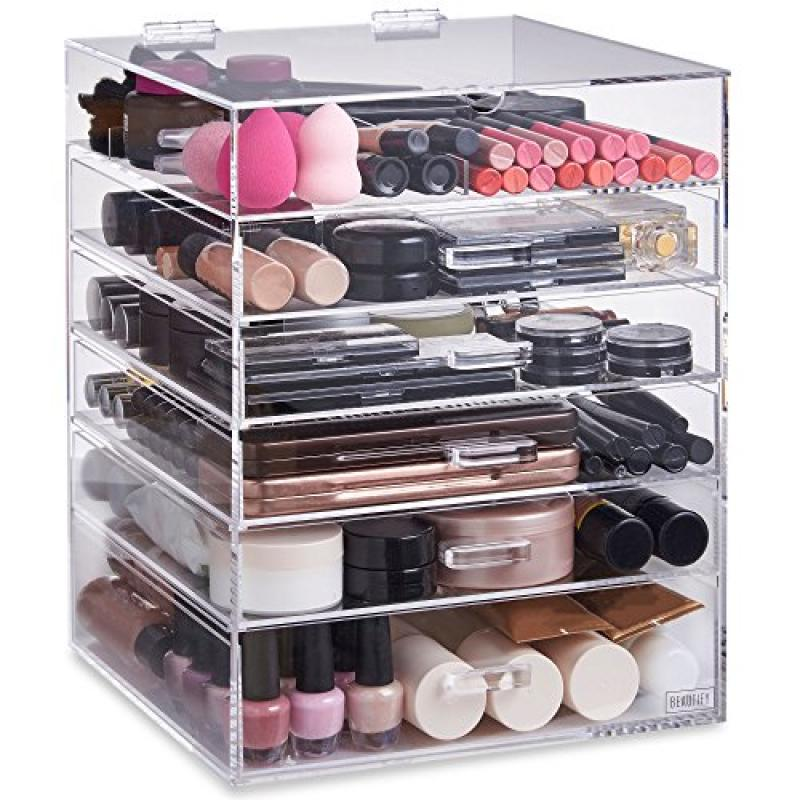 Beautify Extra Large 6 Tier Clear Acrylic Cosmetic Makeup Storage Cube  Organizer With 5 Drawers,