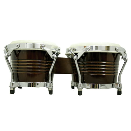 GP Percussion BRW2 Pro Birch Wood Tunable Bongos In Dark Brown Finish
