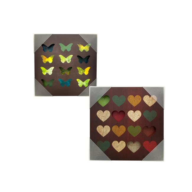 Bulk Buys OF719-8 Hearts Butterflies Grid Box Wall Art, 8 Piece